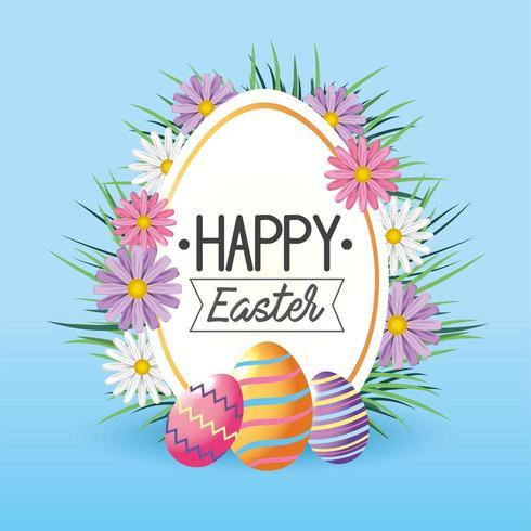 Etichetta con fiori e decorazioni di uova di Pasqua vettore