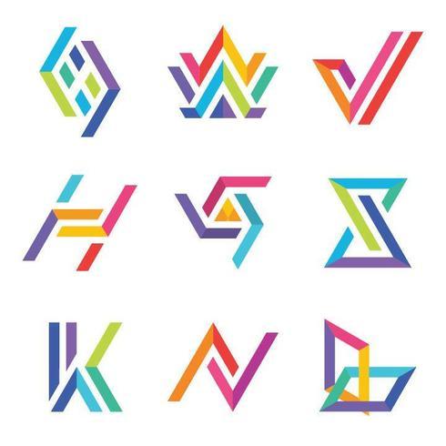 Set logo colorato tipografia vettore