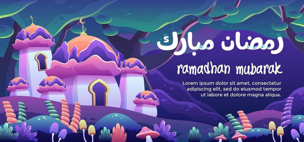 Ramadhan Mubarak Con Una Moschea Di Fiori In Una Foresta Di Fantasia vettore