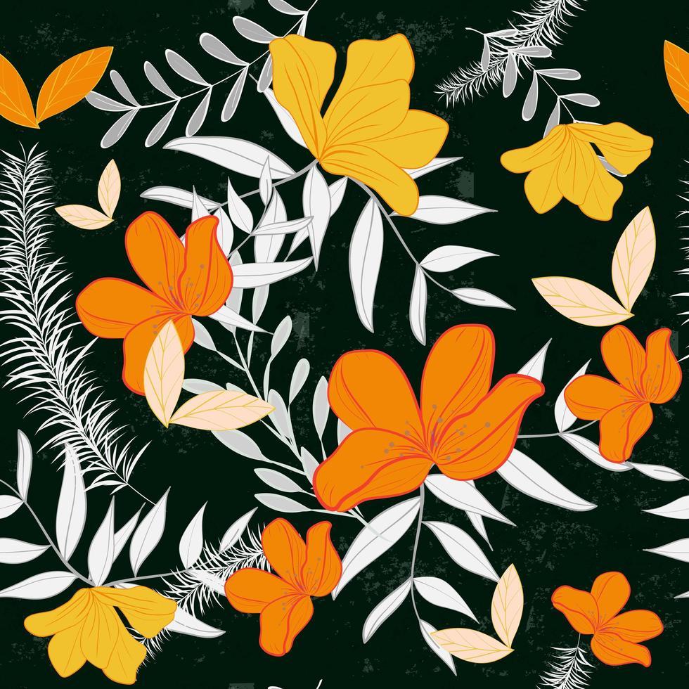 Modello senza cuciture arancio e giallo delle foglie e del fiore vettore