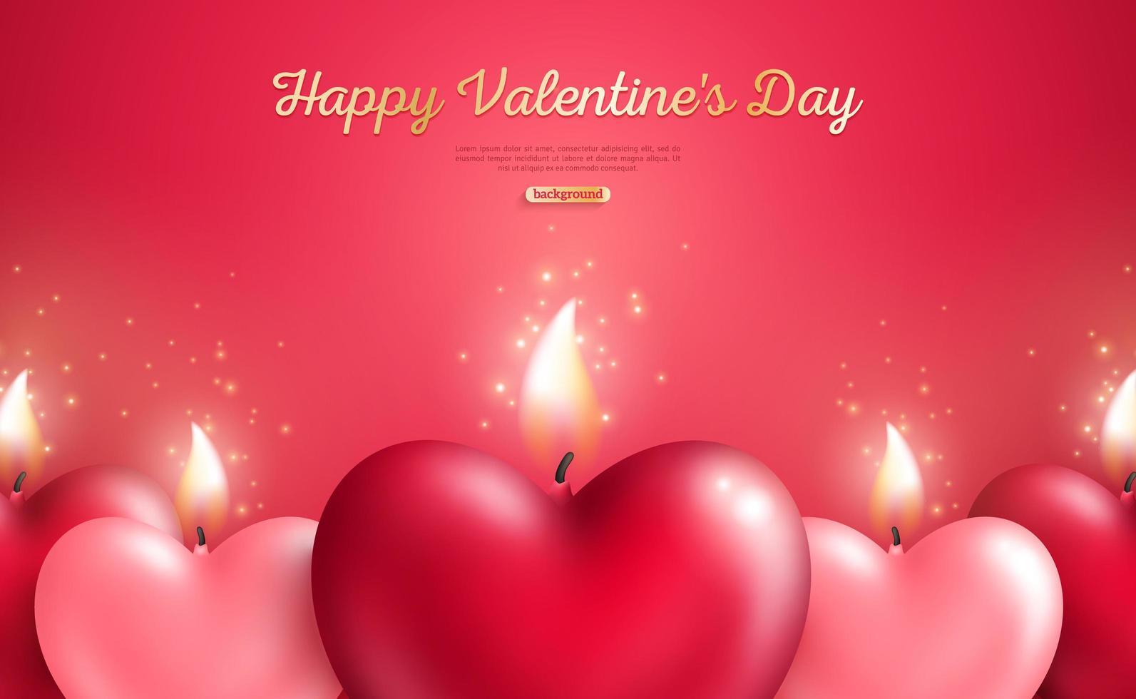 Concetto di San Valentino con candele cuore vettore