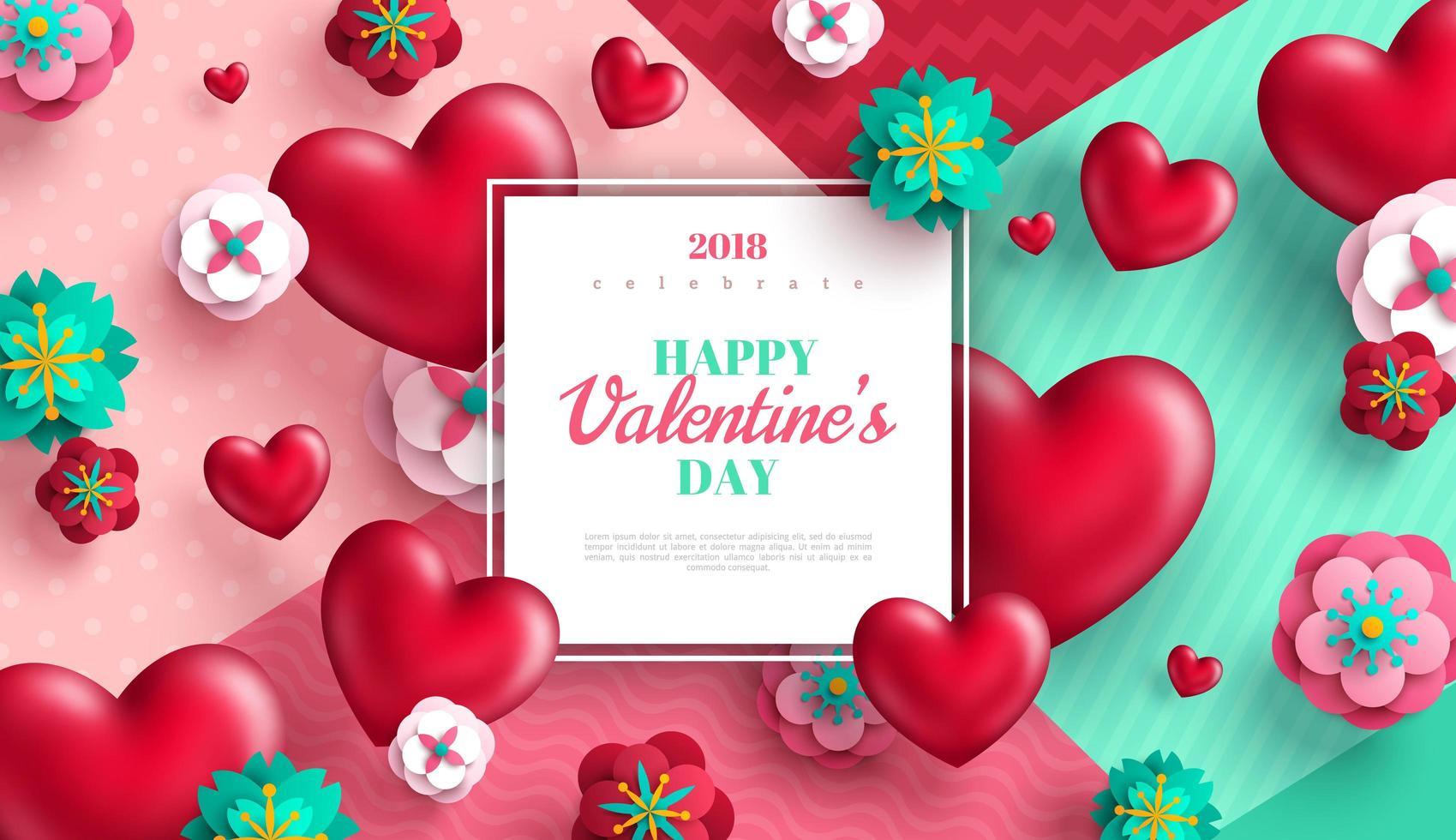 San Valentino sfondo con cuori e fiori recisi di carta vettore