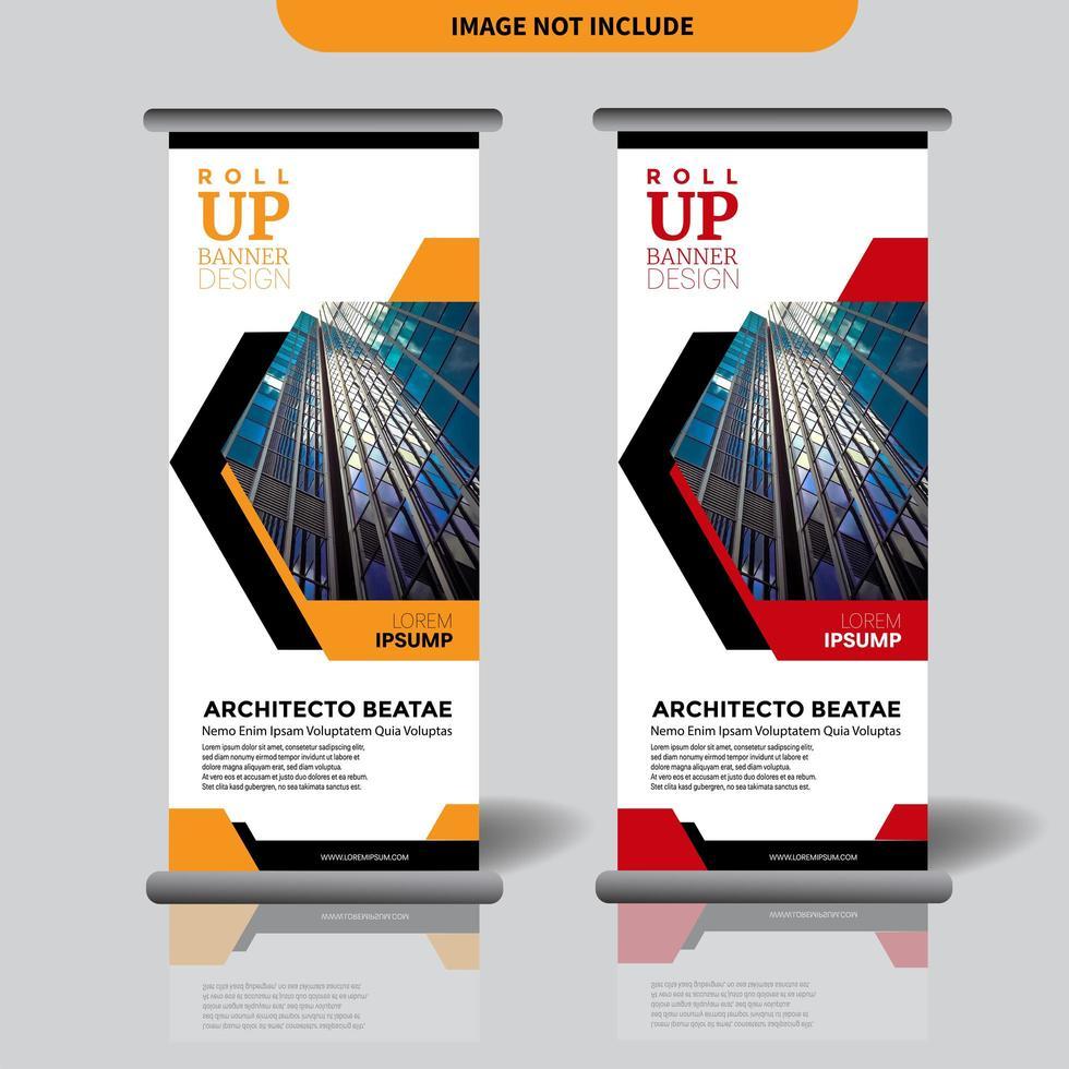 roll up banner design con intaglio a forma geometrica e design vettore