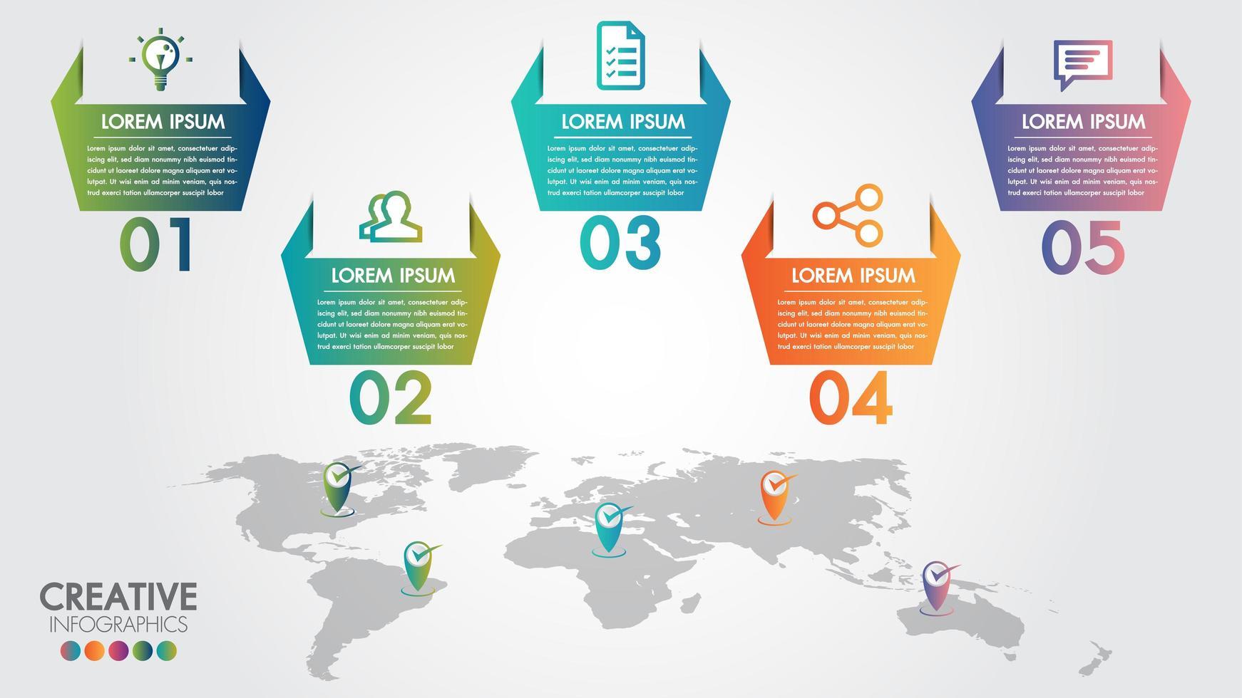 Opzioni di passaggio 5 di infographics di affari della mappa di mondo vettore