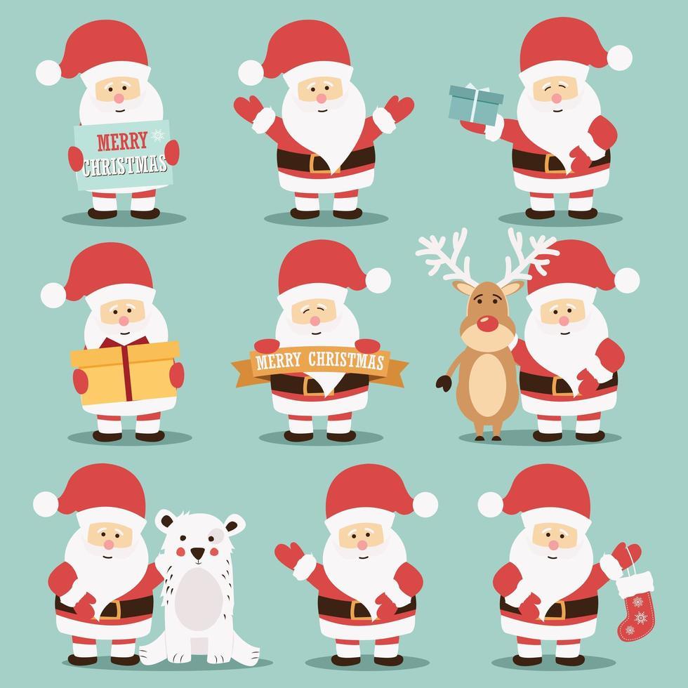 Collezione di personaggi di Babbo Natale vettore