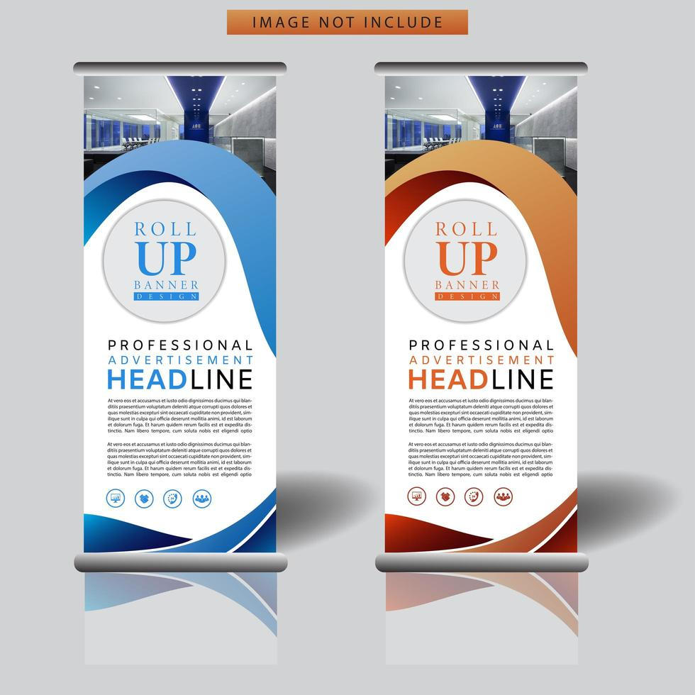 Banner roll up con forme curve vettore