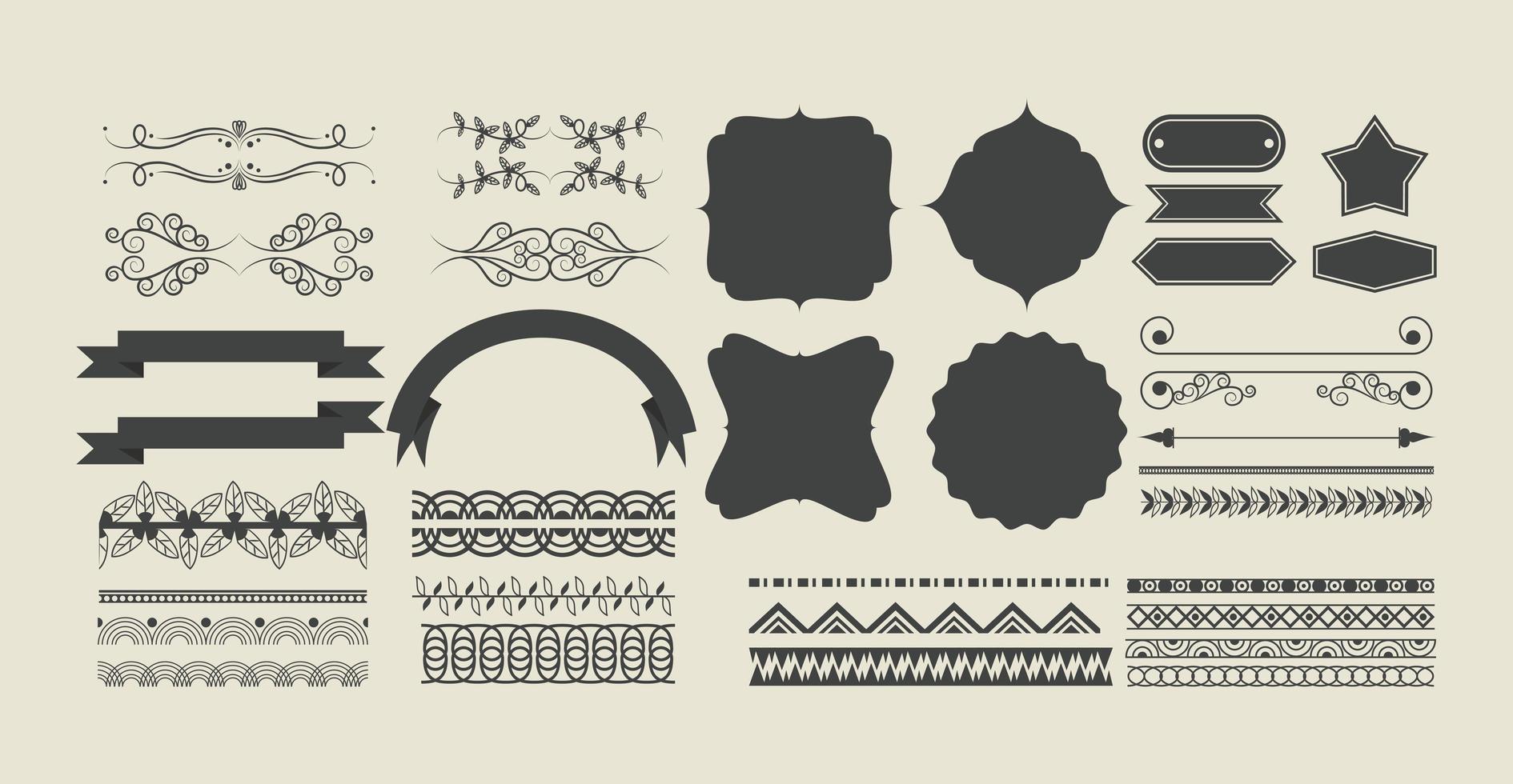 set di nastro decorativo, banner, etichetta, cornici ed emblemi vettore