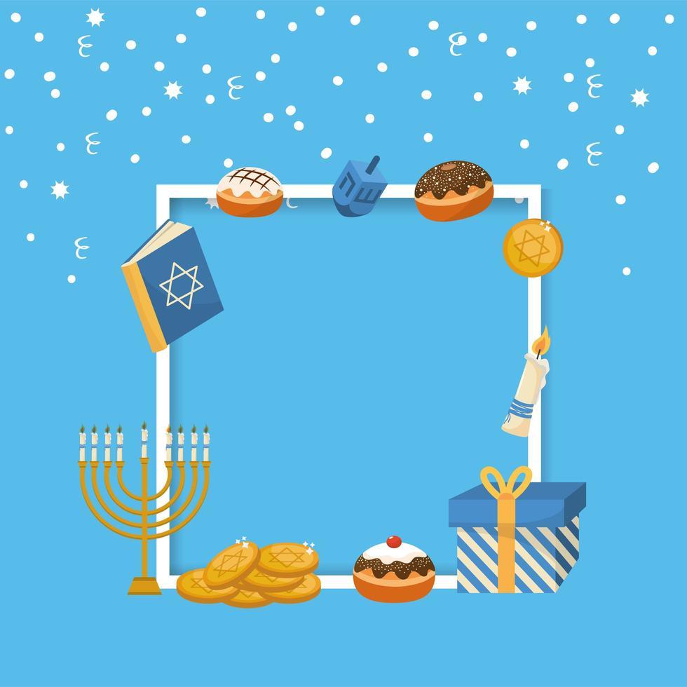 decorazione cornice Hanukkah per la celebrazione tradizionale vettore