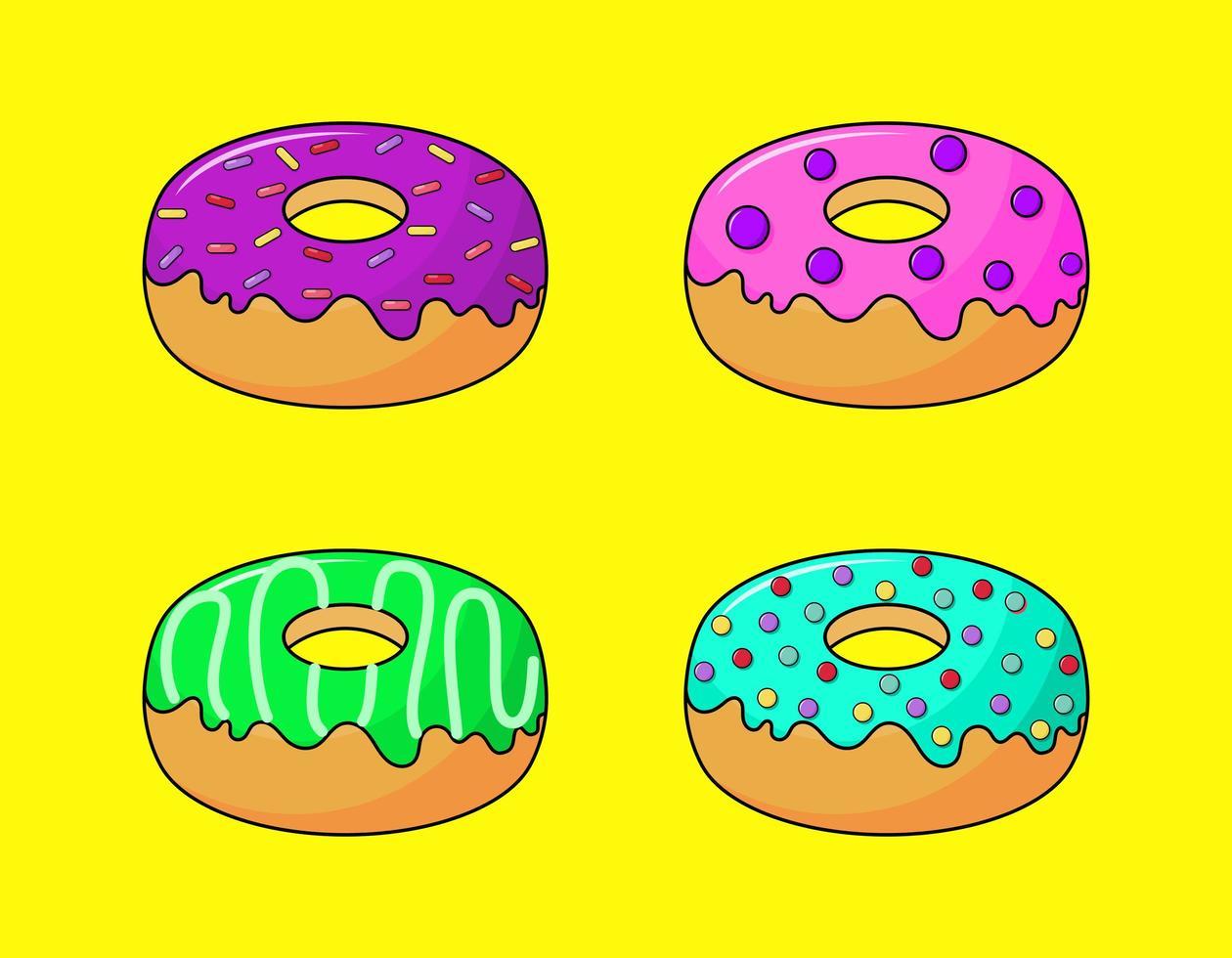 kawaii ciambelle pastello dolci dolci estivi cartoon con diversi tipi vettore
