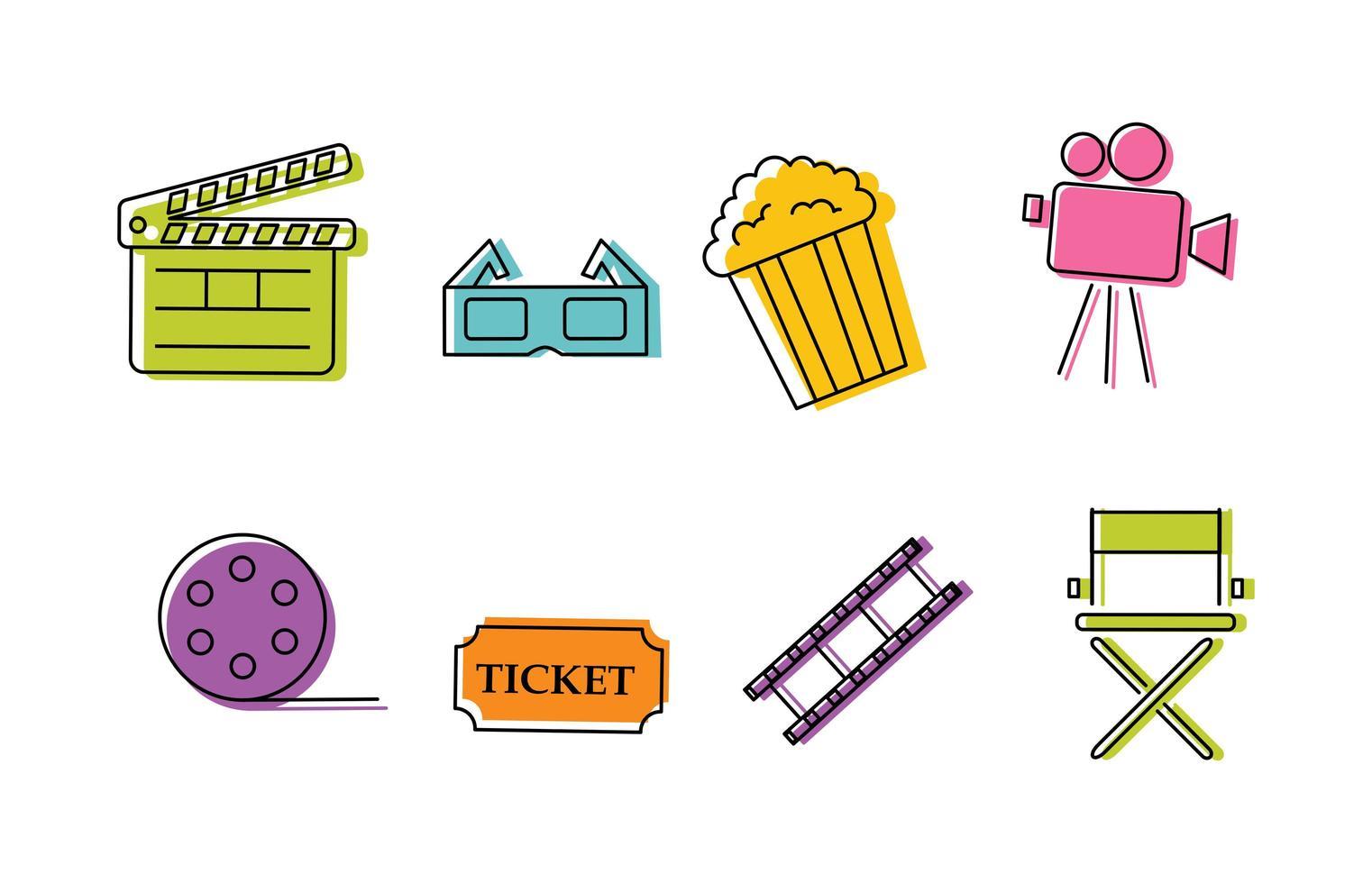 Set di icone colorate cinema vettore