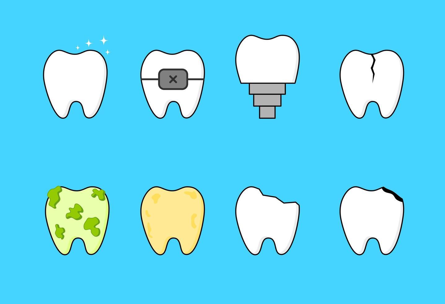 icone dei denti messe su fondo blu vettore