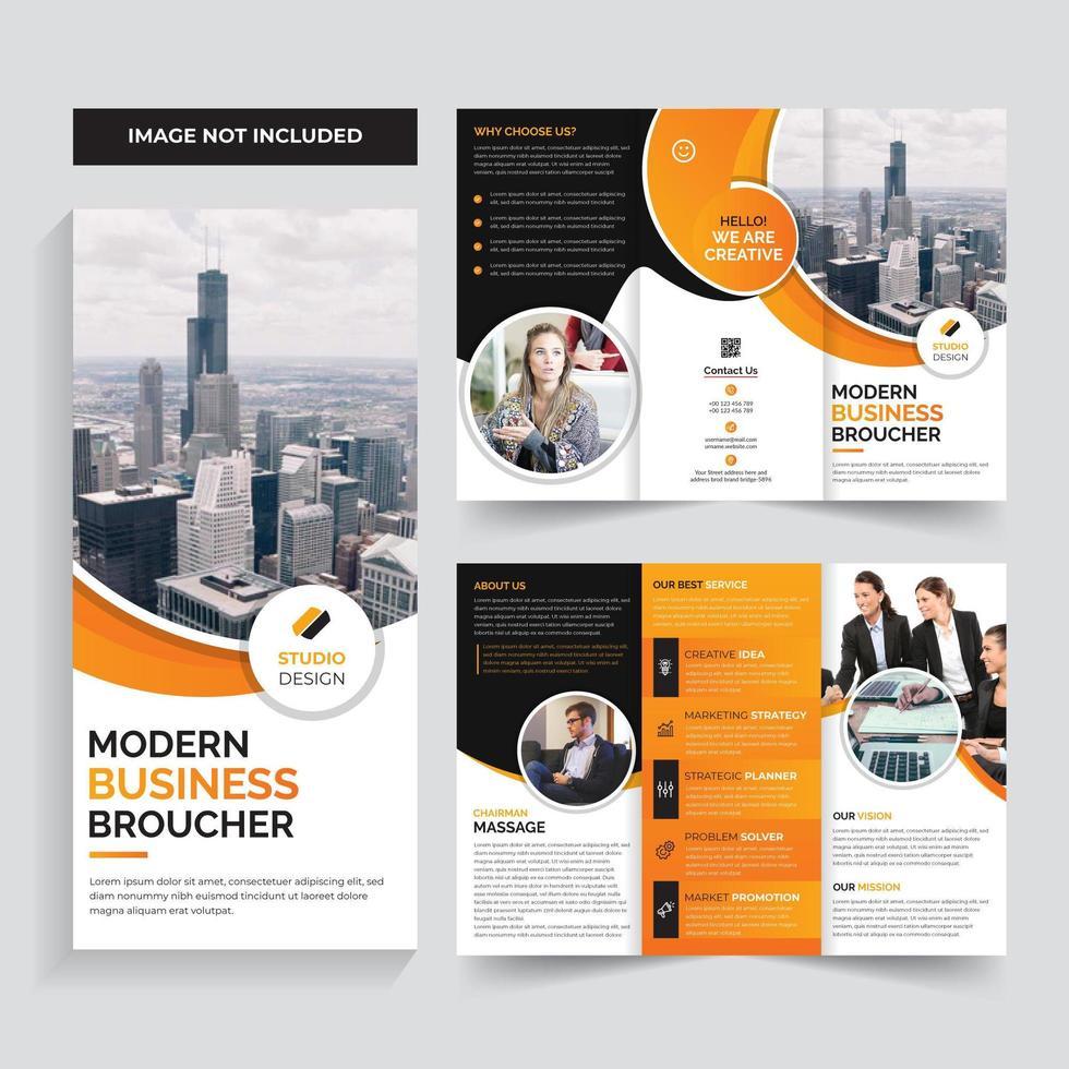Progettazione arancio del modello dell'opuscolo di affari corporativi vettore