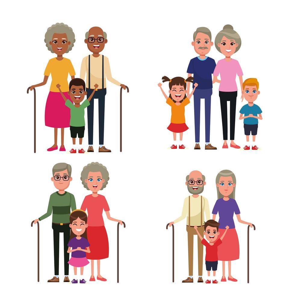 Nonni con bambini vettore