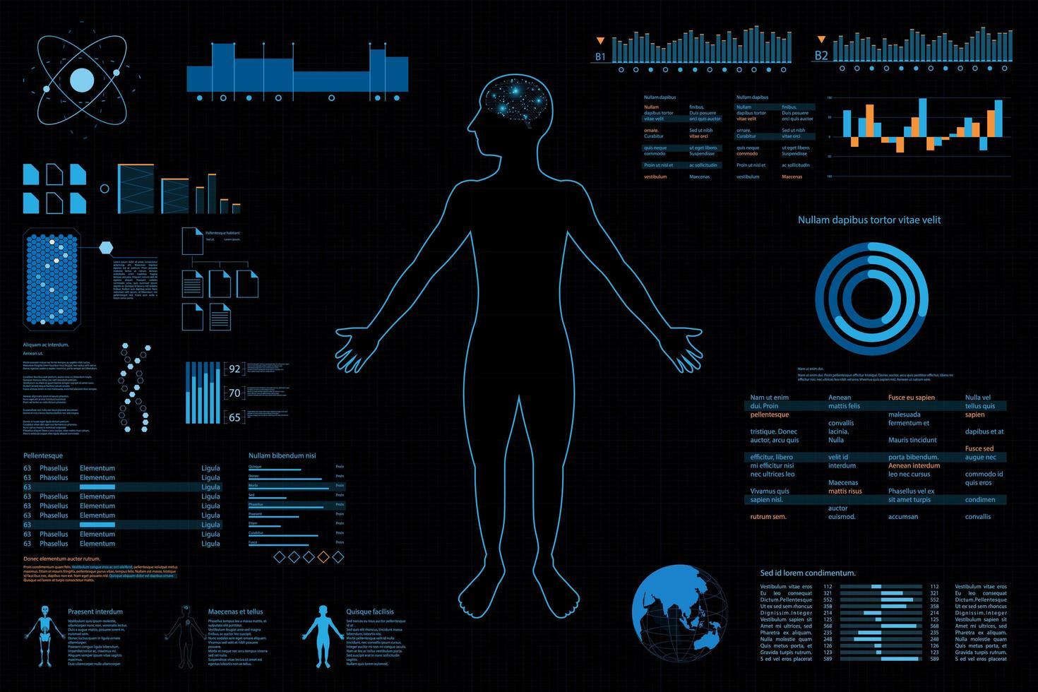 Cruscotto futuristico con elementi di contorno e grafico di persona vettore