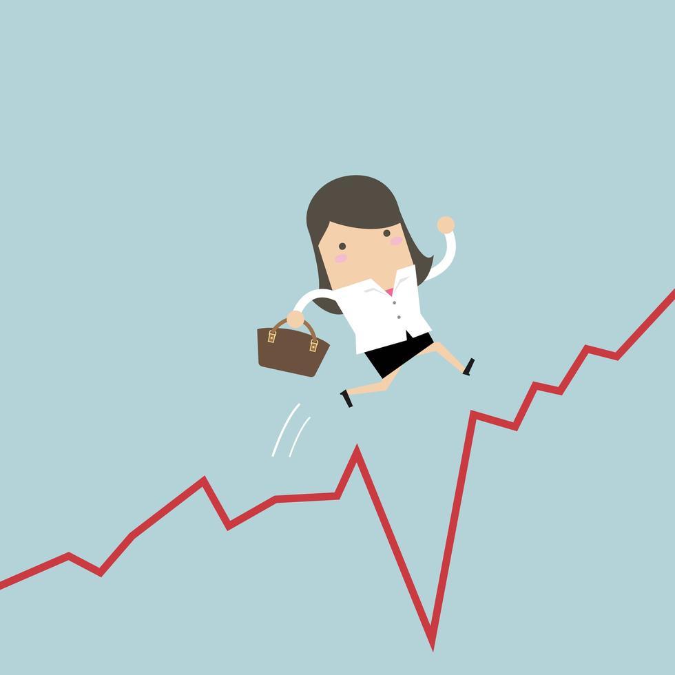 La donna di affari salta il divario nel grafico di crescita. vettore