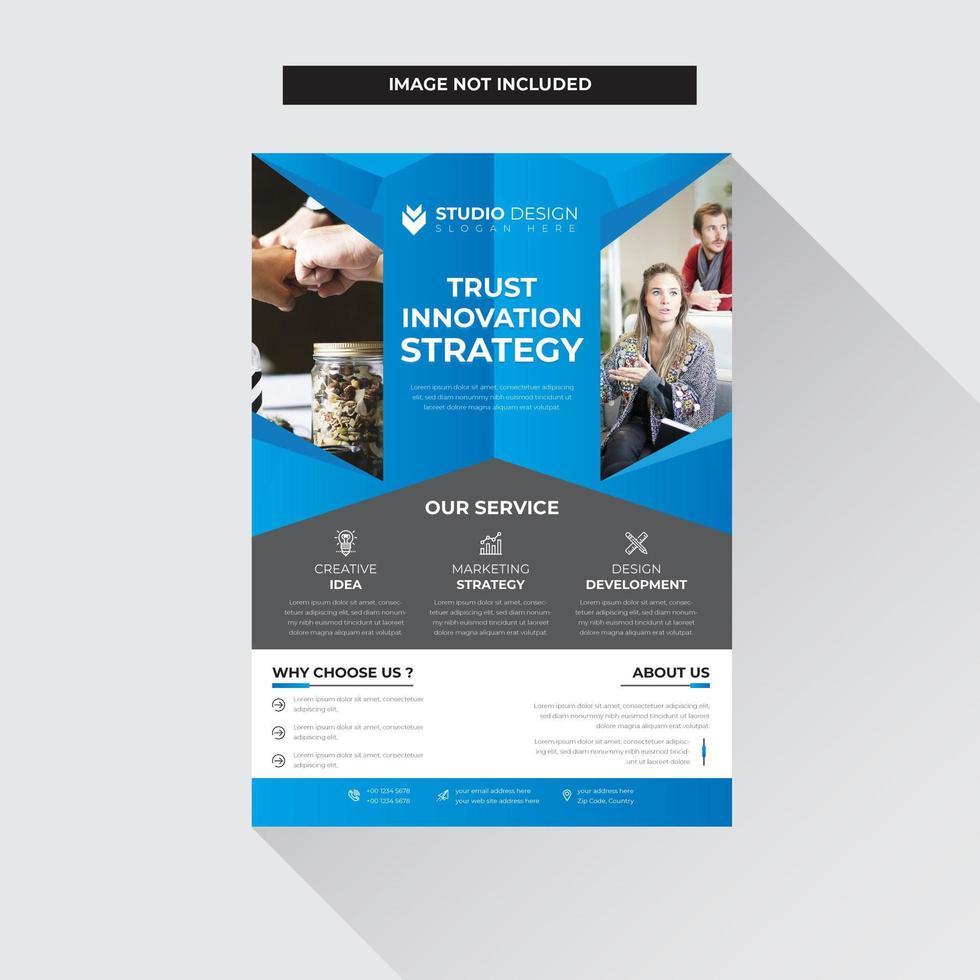 Design moderno blu e grigio Business Flyer Template vettore