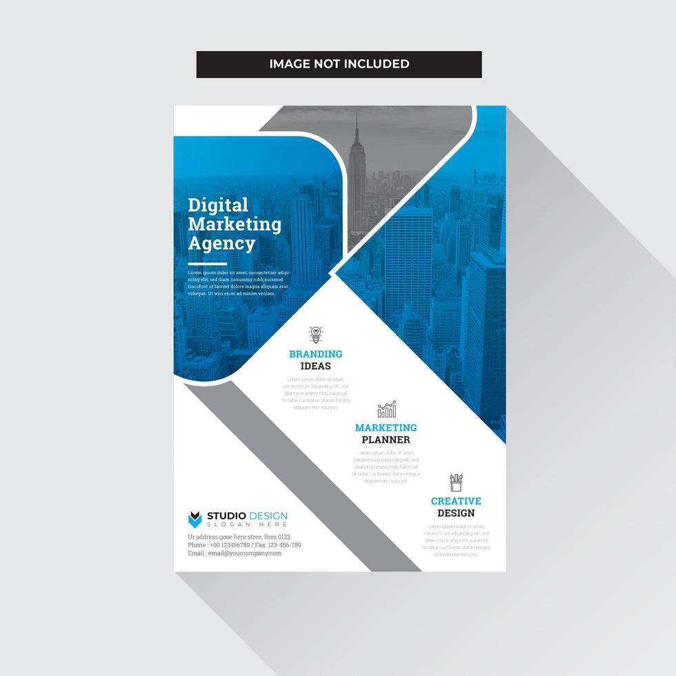 Design moderno blu, grigio e bianco Business Flyer Template vettore