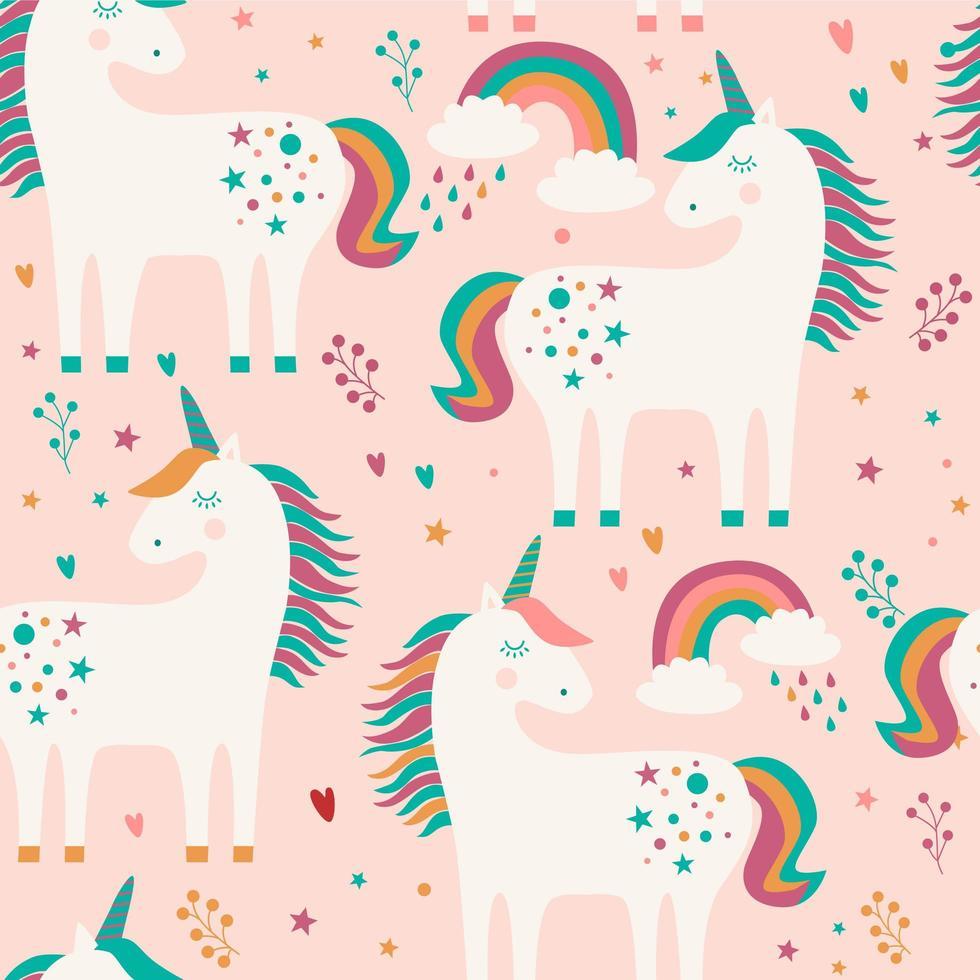 Modello senza cuciture con unicorni, arcobaleno e stelle su sfondo rosa. vettore