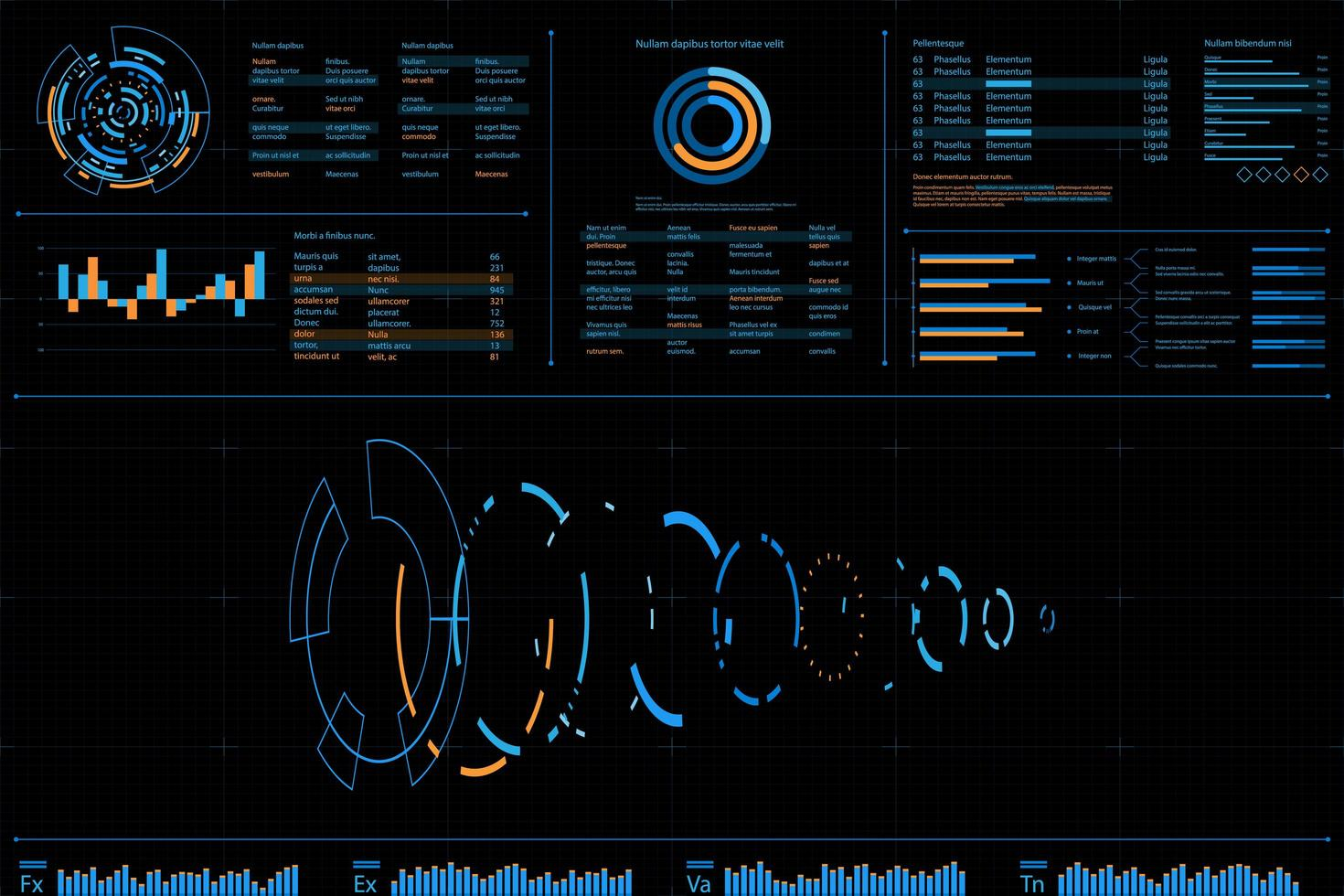 Dashboard dati futuristico con design a spirale vettore