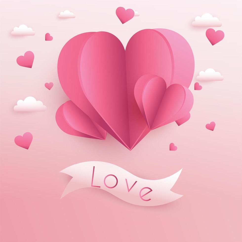 Sfondo di San Valentino con cuori tagliati di carta vettore