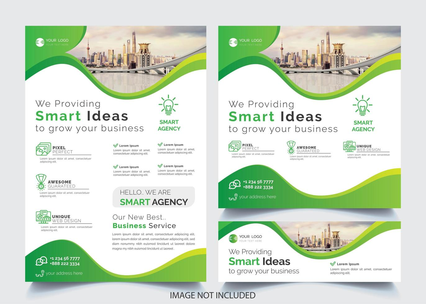 Insieme verde del modello dell'aletta di filatoio di affari di progettazione ondulata vettore