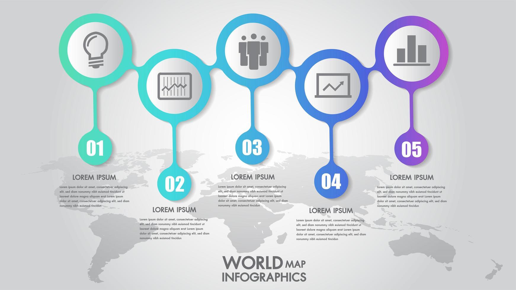 Illustrazione di vettore di opzioni di punto di infographics 5 di affari della mappa di mondo
