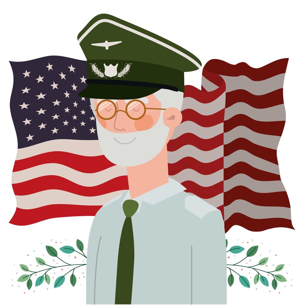carta del memorial day con veterano e bandiera usa vettore