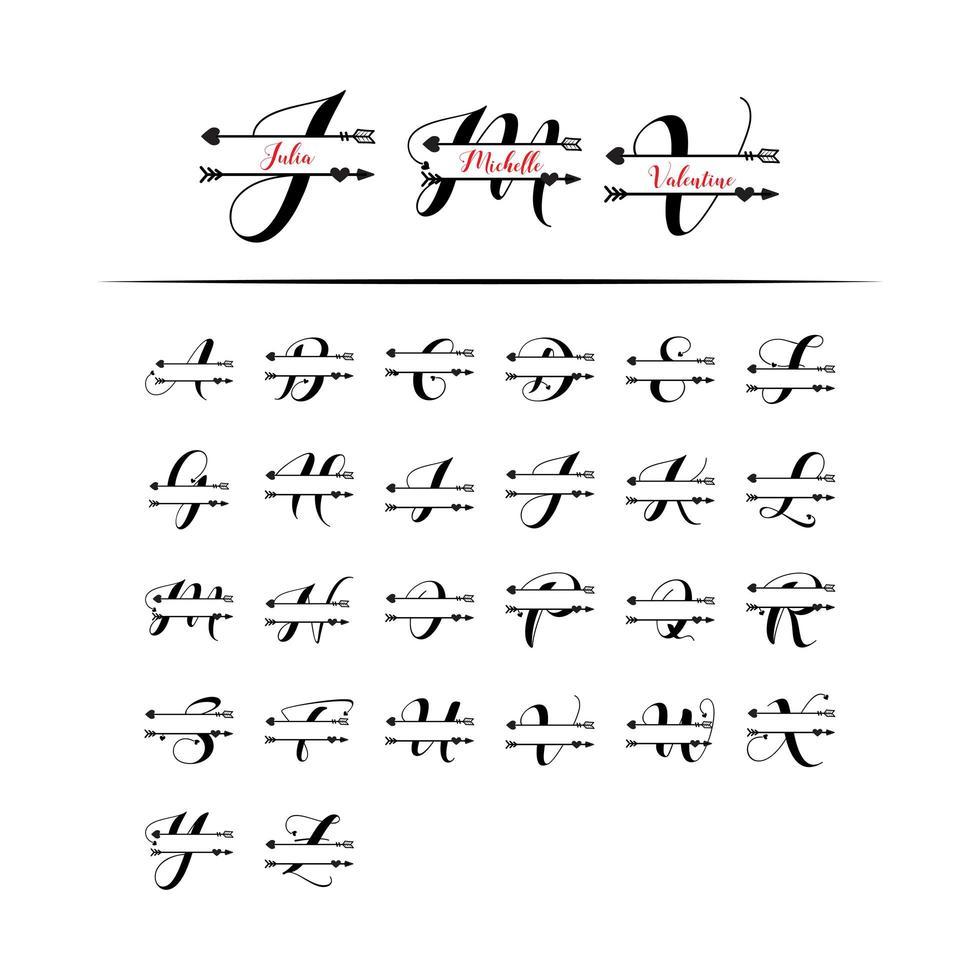 Set di iniziale lettera d'amore monogramma diviso vettore