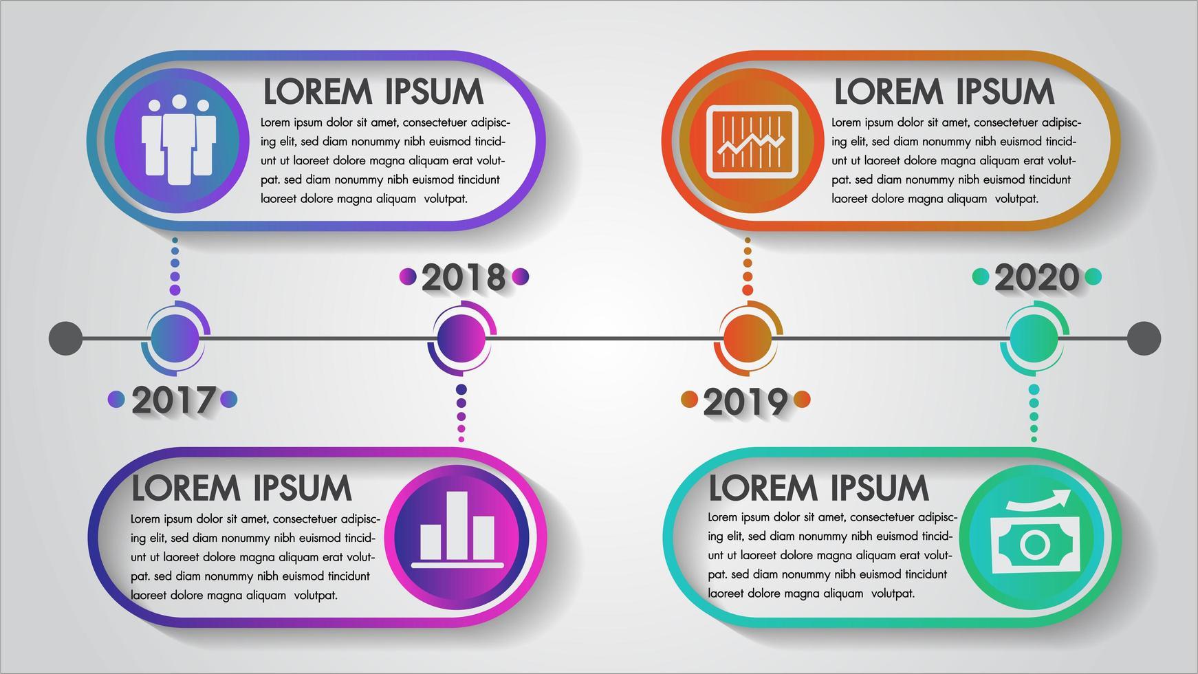 Cronologia infografica anno design vettore