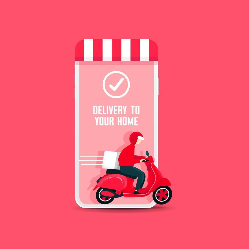 Uomo di consegna in sella a uno scooter dal telefono vettore