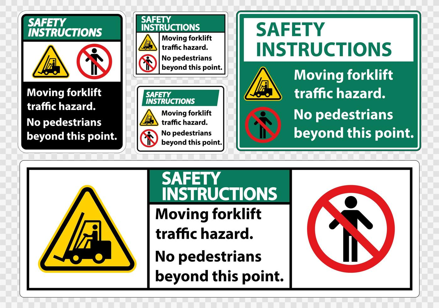 Set di pericolo per il traffico del carrello elevatore mobile vettore