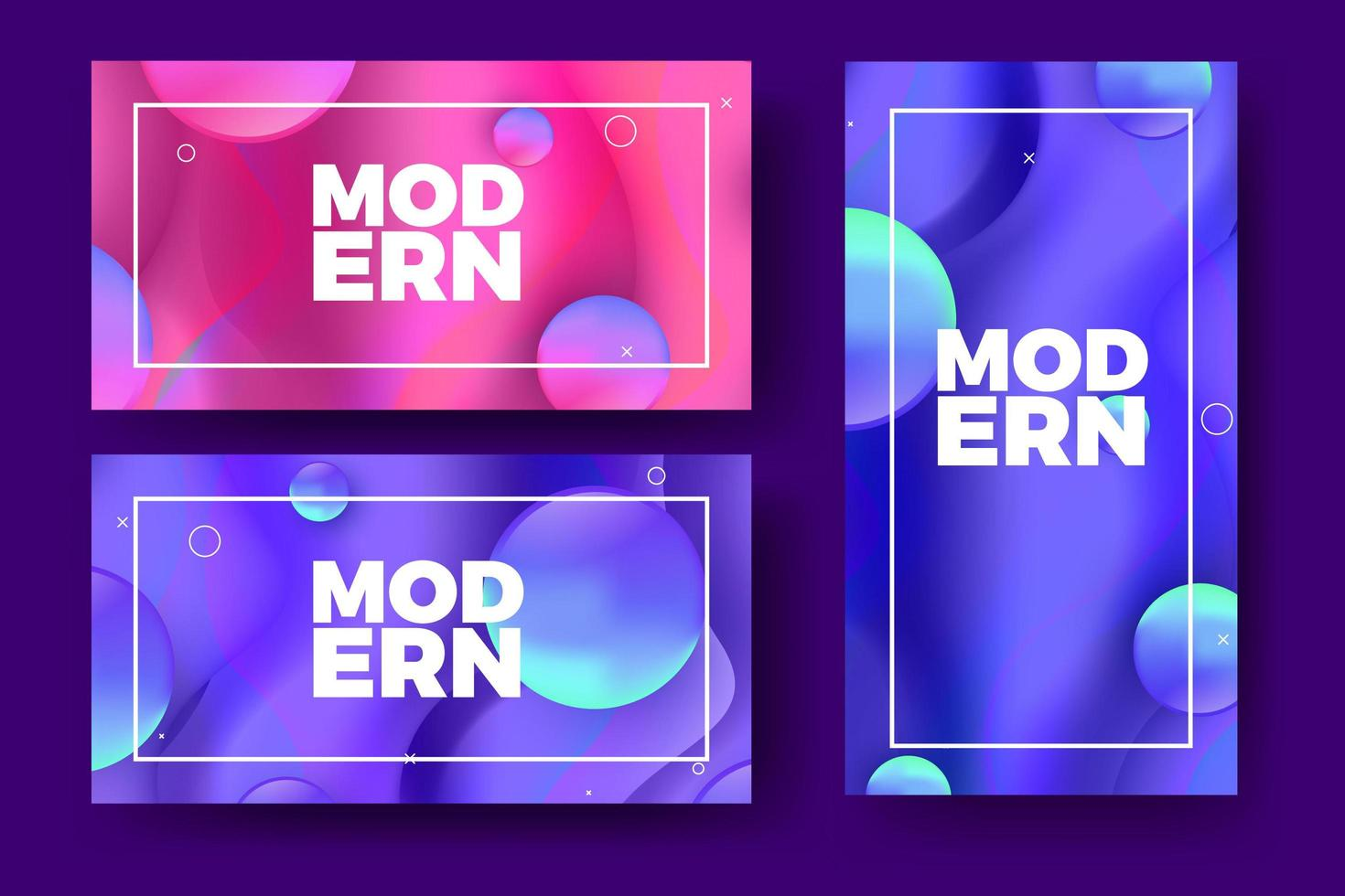 Striscioni moderni sfumati con forme 3D colorate vettore