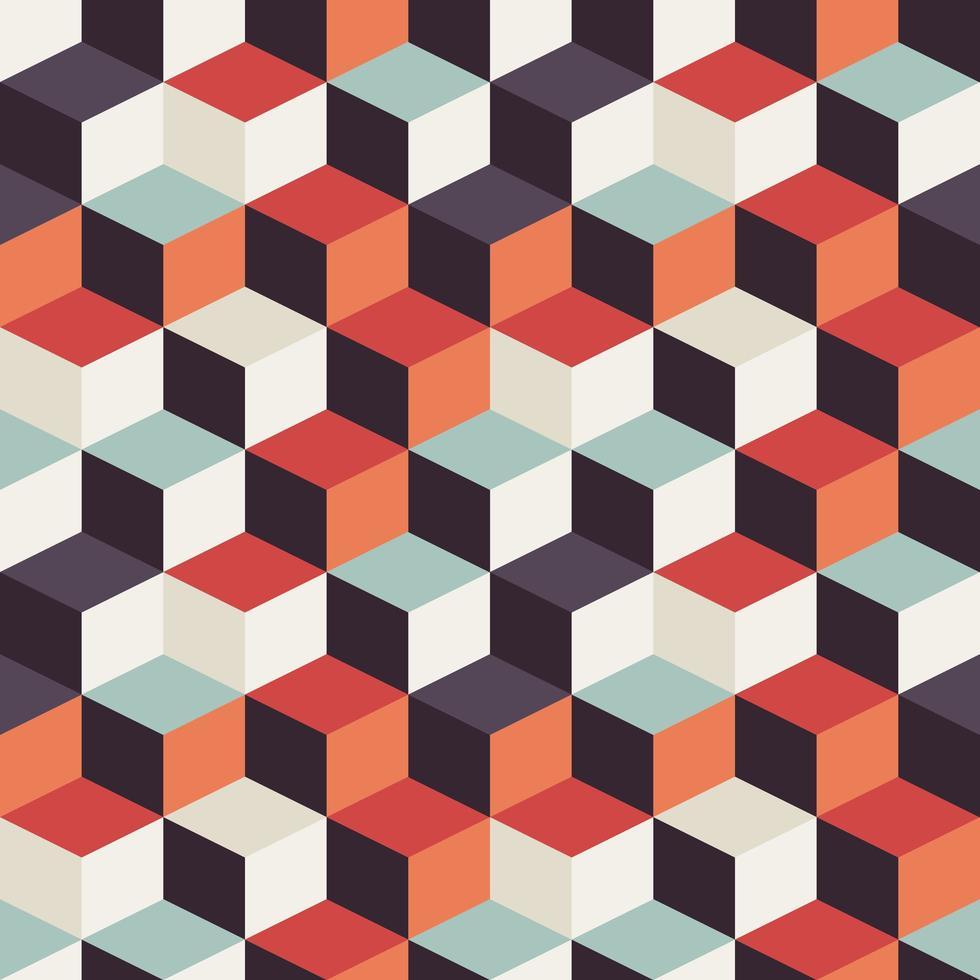 Motivo geometrico senza soluzione di continuità con quadrati retrò vettore