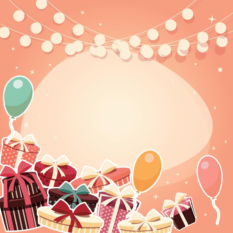 Sfondo di compleanno con regali vettore