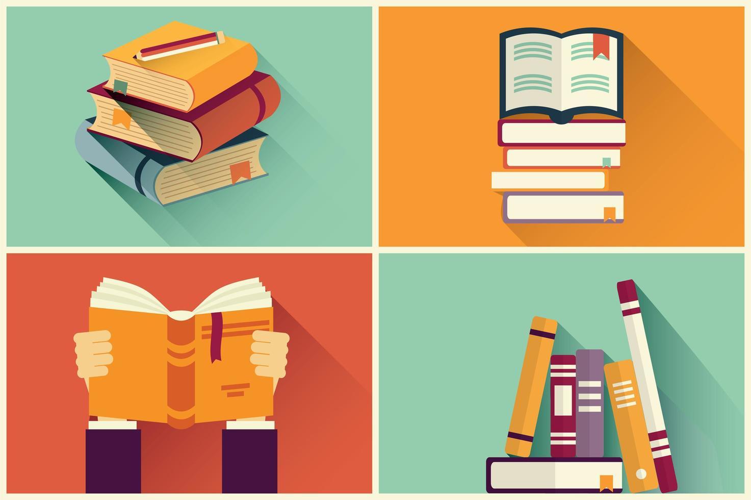 Set di libri in design piatto vettore