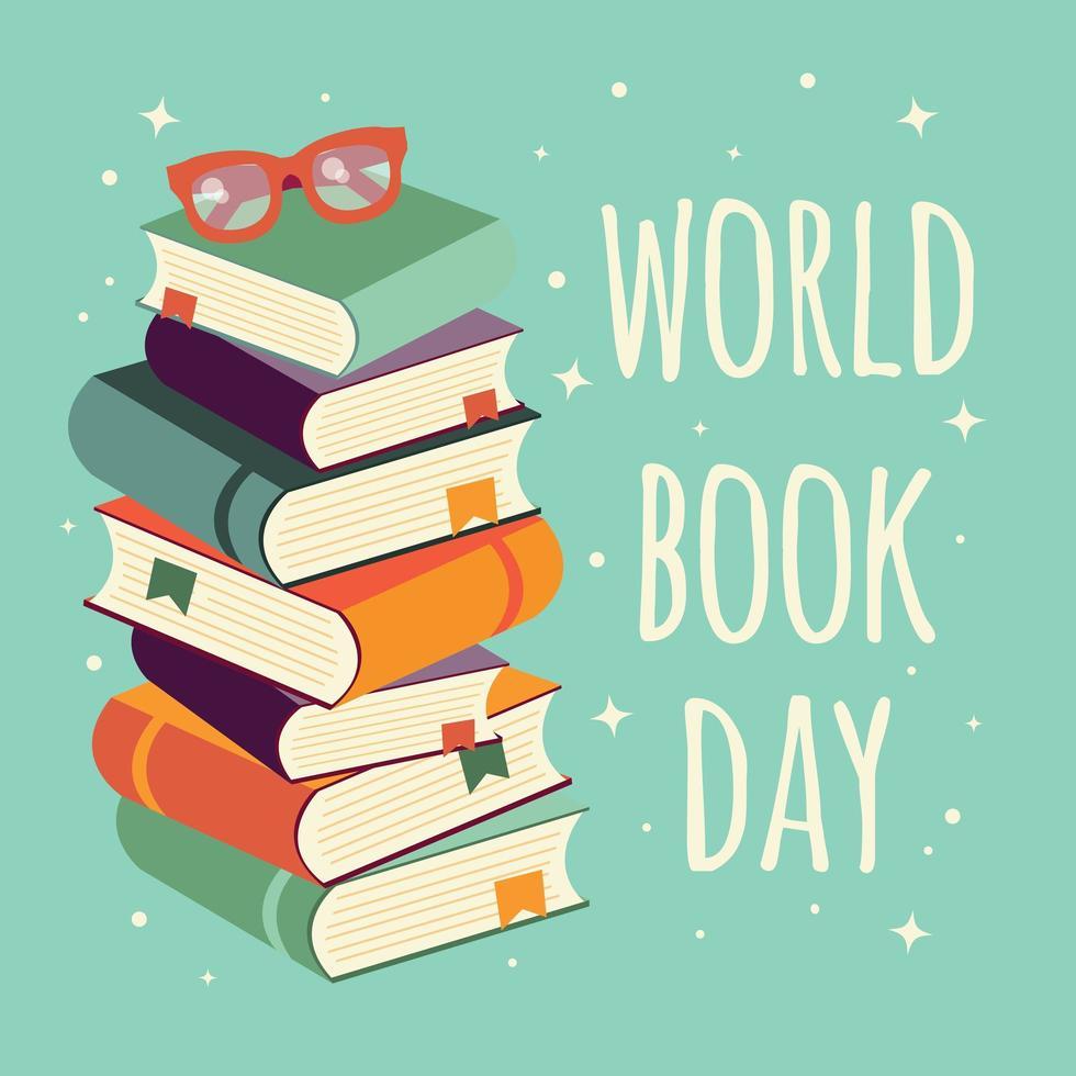 Giornata mondiale del libro, pila di libri con gli occhiali su sfondo di menta vettore