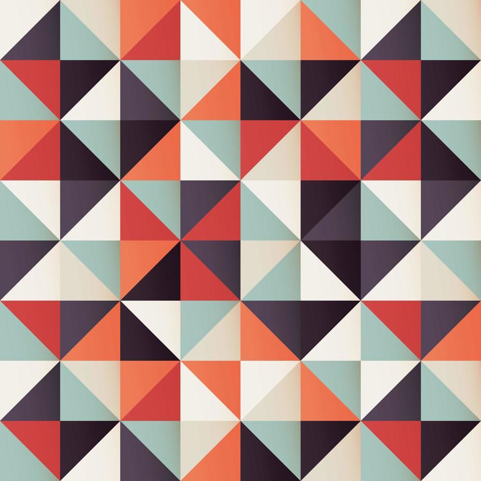 Motivo geometrico senza soluzione di continuità con triangoli retrò vettore