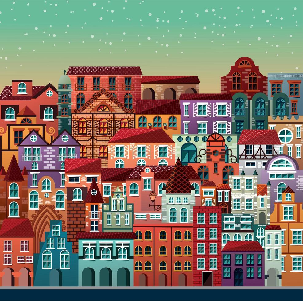Collezione di edifici e case scena urbana vettore