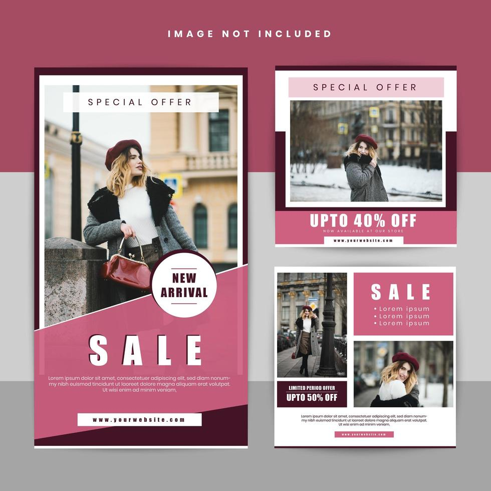 set di banner sociale geometrico di vendita di abbigliamento vettore