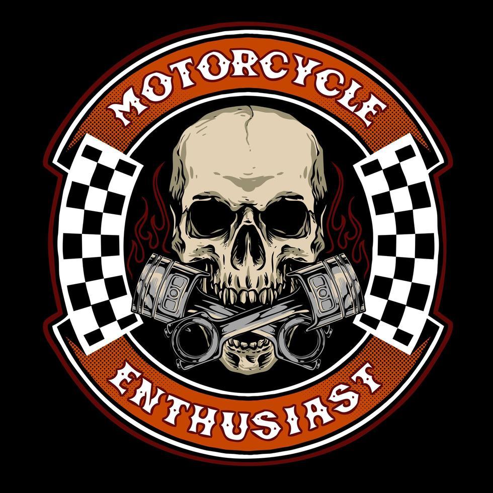 motociclista teschio con badge pistone vettore