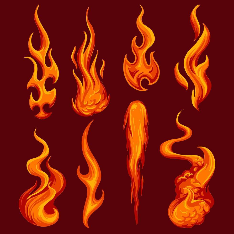 Collezione di fiamme arancioni vettore