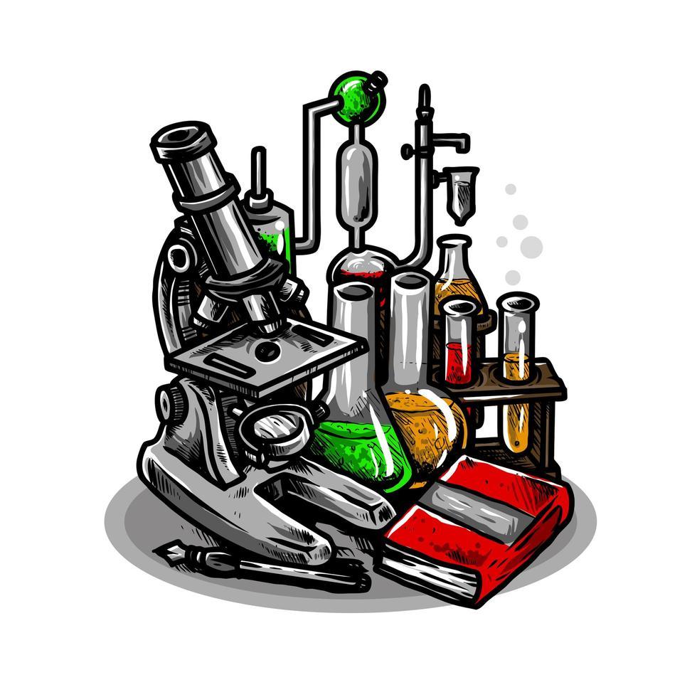 attrezzatura da laboratorio con contenitori di vetro vettore