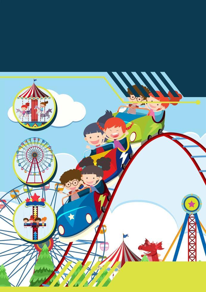 Bambini al modello del parco a tema vettore