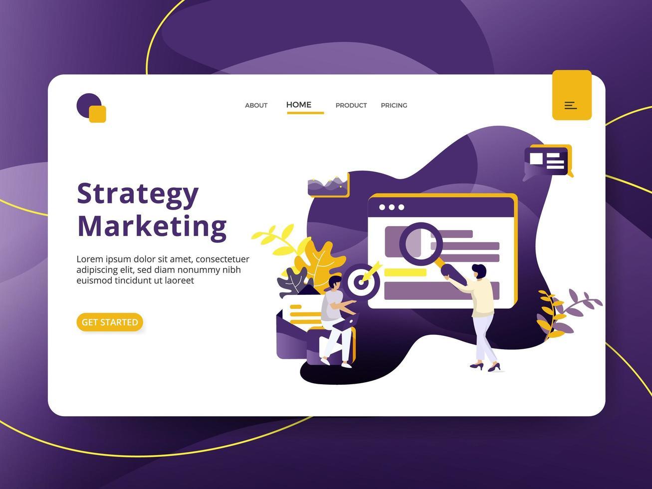 Pagina di destinazione Strategia di marketing vettore