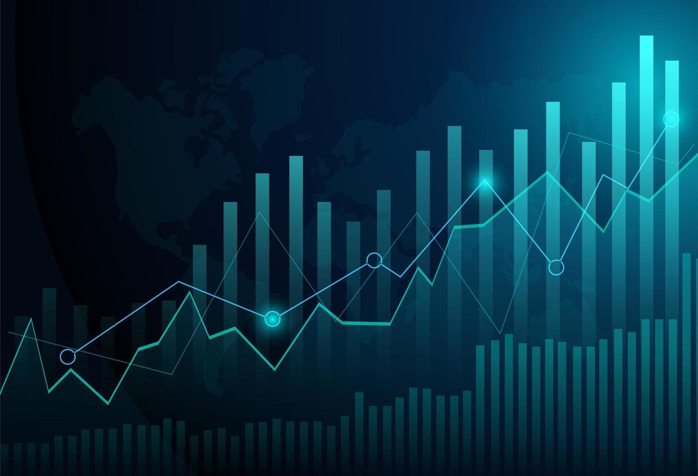 Grafico del grafico del bastone della candela di affari di investimento del mercato azionario vettore