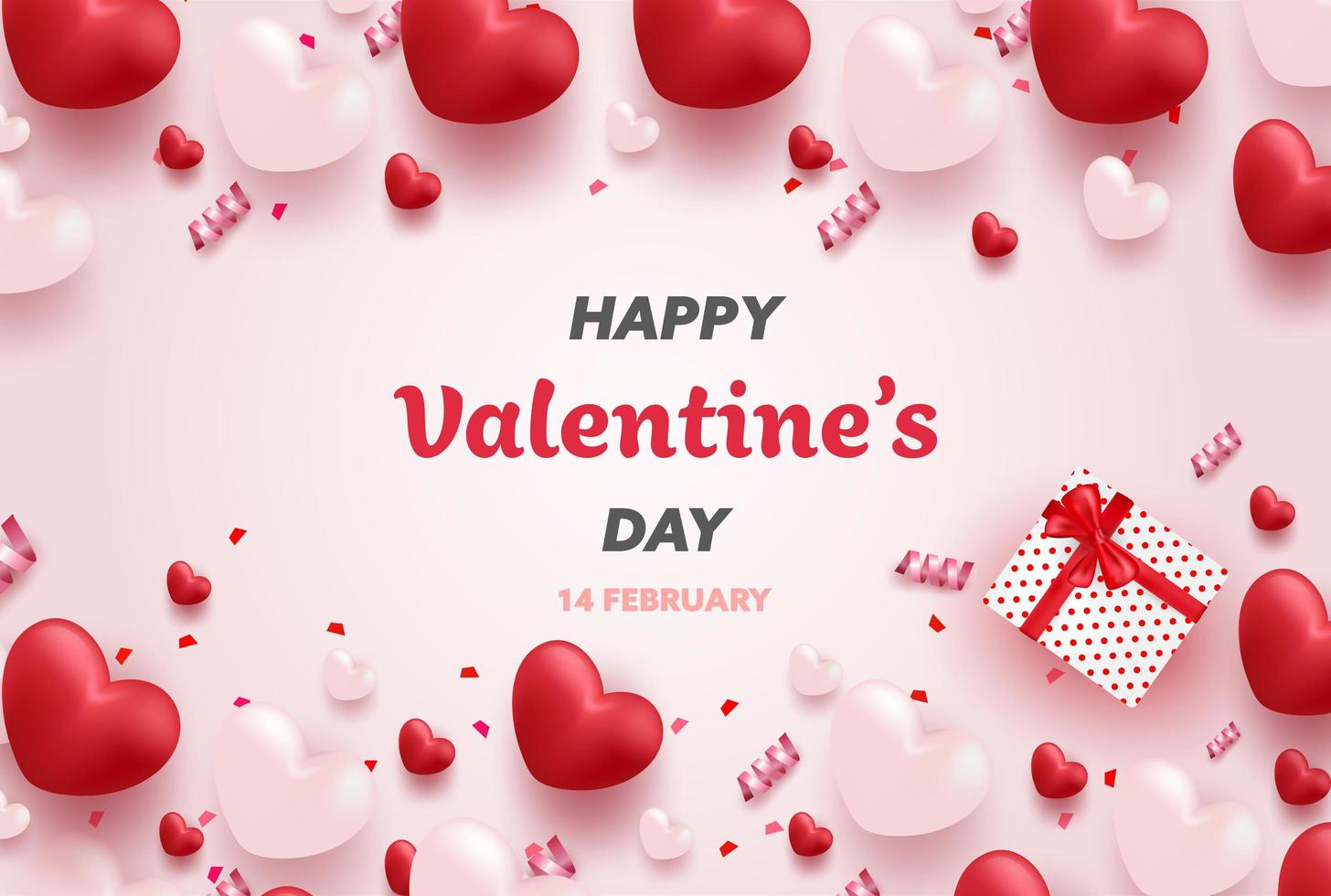 Felice San Valentino banner con cuori di lusso rosso e rosa vettore