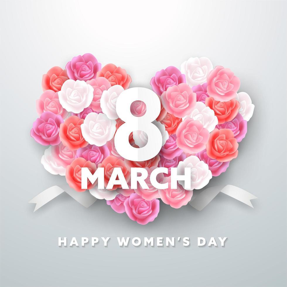 8 marzo Design della cartolina d'auguri per la festa della donna vettore