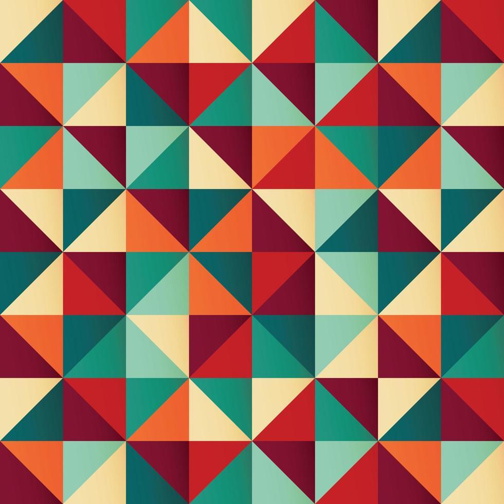 Modello senza cuciture geometrico con triangoli colorati in design retrò vettore
