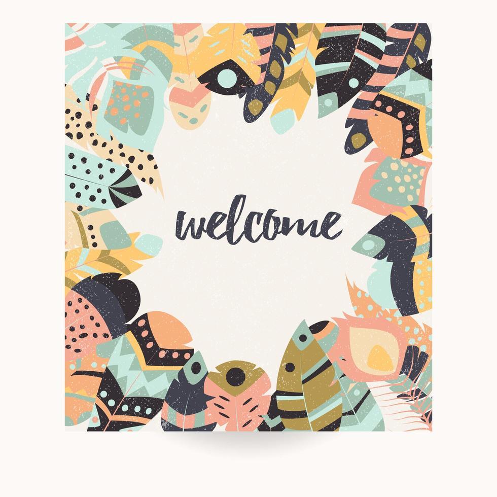 Design cartolina con copia spazio e piume colorate bohémien vettore