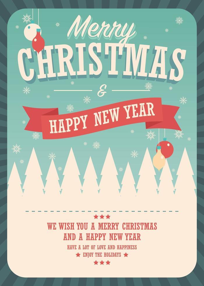 Cartolina di Natale su sfondo invernale, poster design vettore